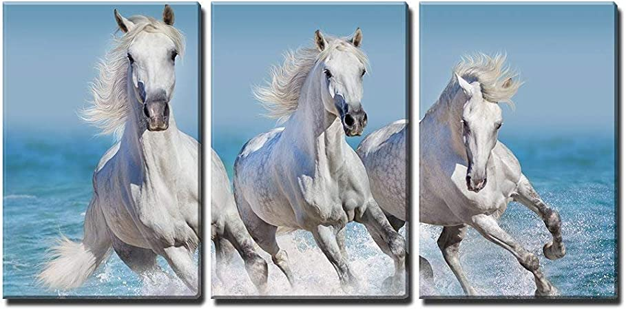 Wall26 3 Piece Canvas Wall Art Horse Herd Run Gallop In Waves In The Ocean Modern Home Art Stretched And Framed Ready To Hang 24 X36 X3 Panels Posters