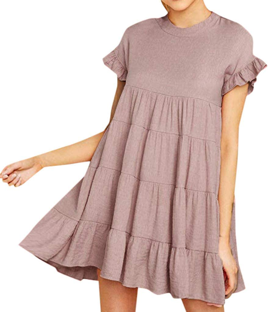 Womens Short Sleeve Dress Solid O Neck Ruffle Sleeve Plain Casual Swing Loose Party Dress