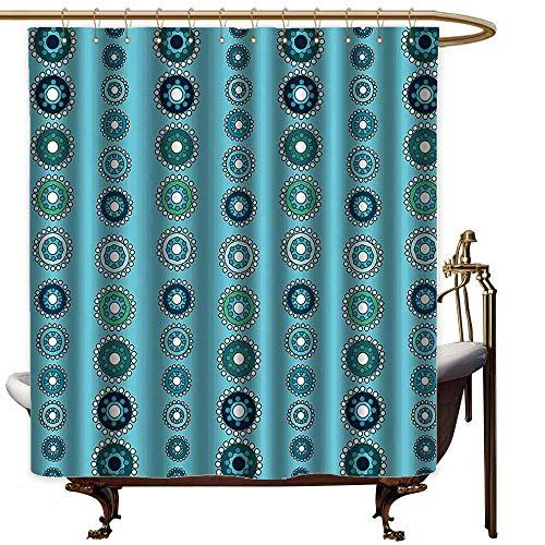 Godves Large Shower Curtain,Turquoise Decor Collection Vertical Medallion Shapes Ornate Celebrations Holidays Classics Pattern,goof Proof Shower,W55x84L,Navy Blue Light - Light Two Classic Neo Bronze