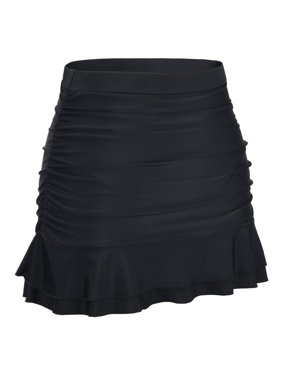 Hilor Women's Skirted Bikini Bottom High Waisted Shirred Swim Bottom Ruffle Swim Skirt Black 10(fits 6) by Hilor (Image #2)