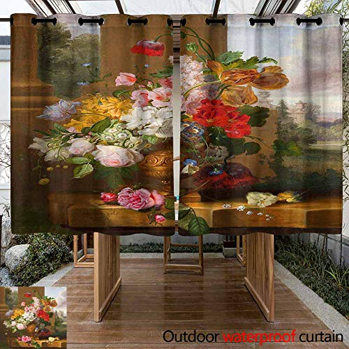 VIVIDX Patio Outdoor Curtain UV Privacy Drape Thick Waterproof Fabric Heavy Duty Indoor Panel for Porch Balcony Pergola Lanai Canopy Tent Gazebo Window, - Paisley Suede Curtain