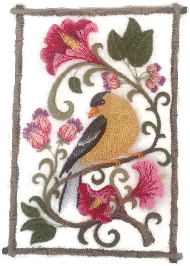 Set Of 2 Birds Goldfinches Iron// Sew On Embroidered Patch Appliqués Badge