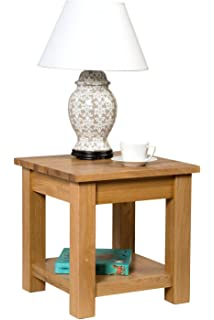 hallowood waverly oak small coffee shelf 45cm solid wooden square telephone side lamp