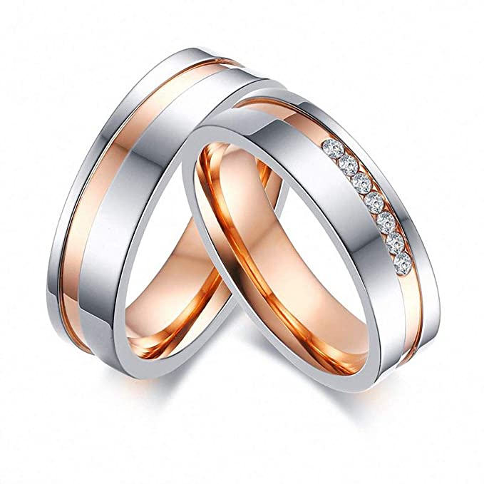 170374e0cea Image Unavailable. Image not available for. Color  Elegant Wedding Rings  Women Men Cz Stones Stainless Steel Couple ...