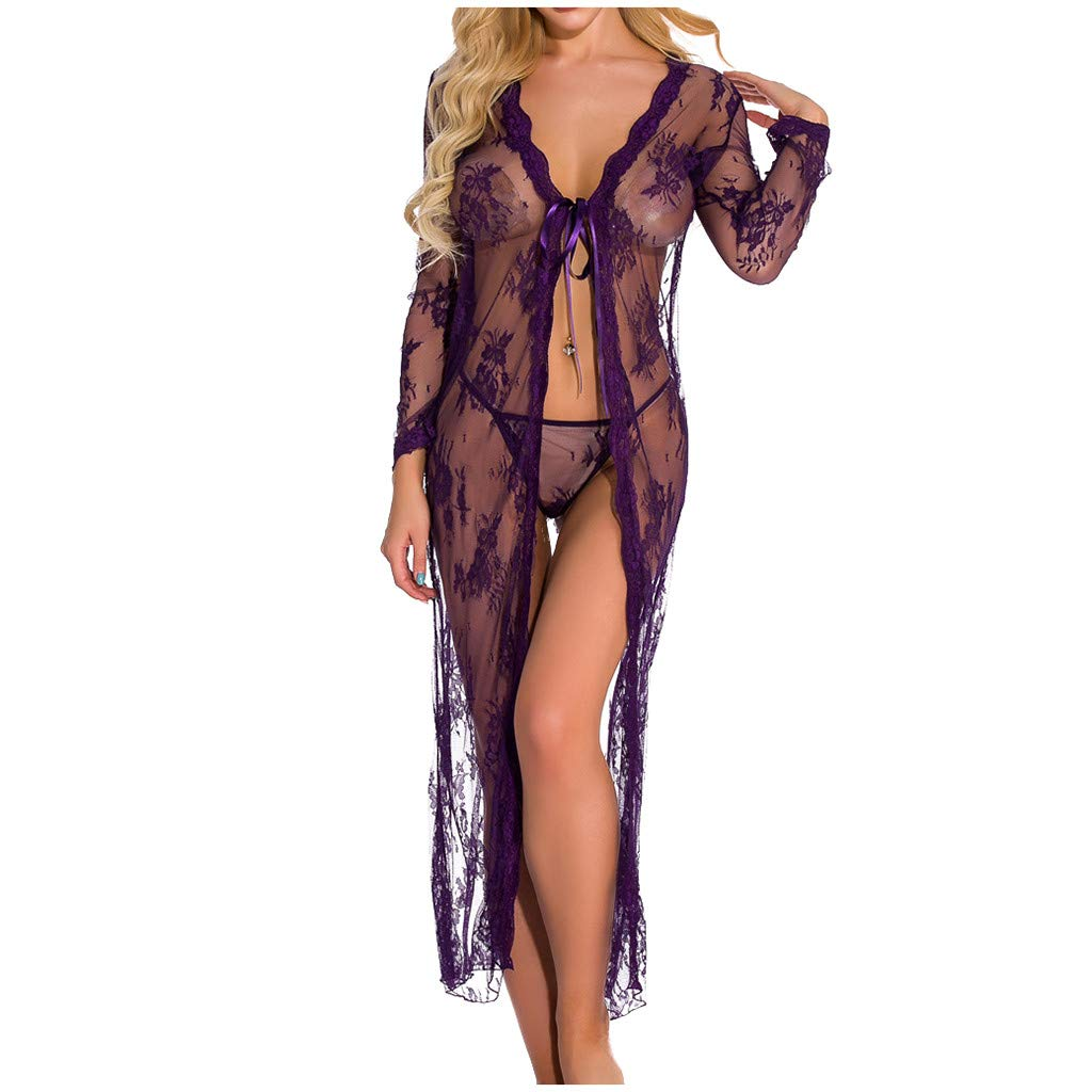 Women Kimono Robe Sexy Long Lace Dress Sheer Gown See Through Lingerie Swimsuit Cover Up Coat (Purple,XL) by TozuoyouZ