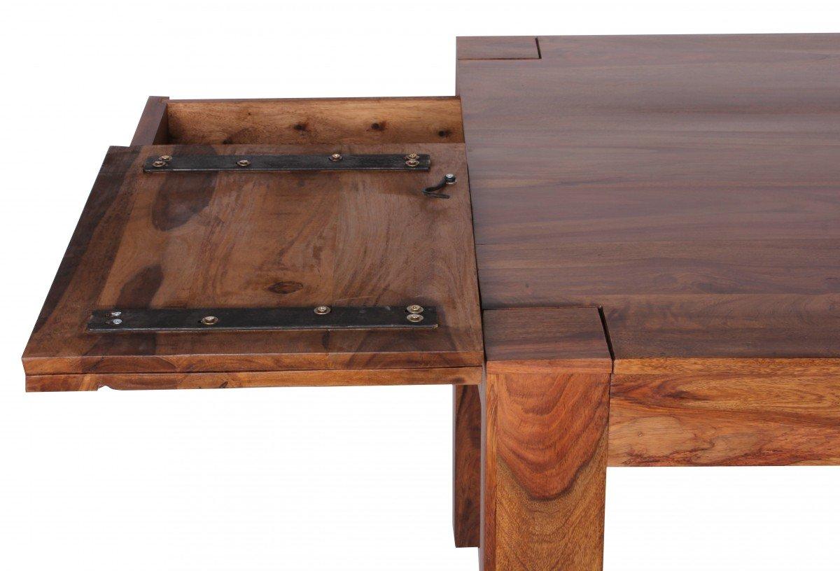 WOHNLING Esstisch Massivholz Sheesham 160   240cm Ausziehbar Esszimmer Tisch  Design Küchentisch Landhaus Stil Holztisch Dunkel Braun Natur Produkt ...