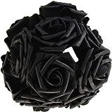 10 PCS DIY Artificial Flowers Bridal Bouquet Rose Flower for Wedding Place Decorating(Black)