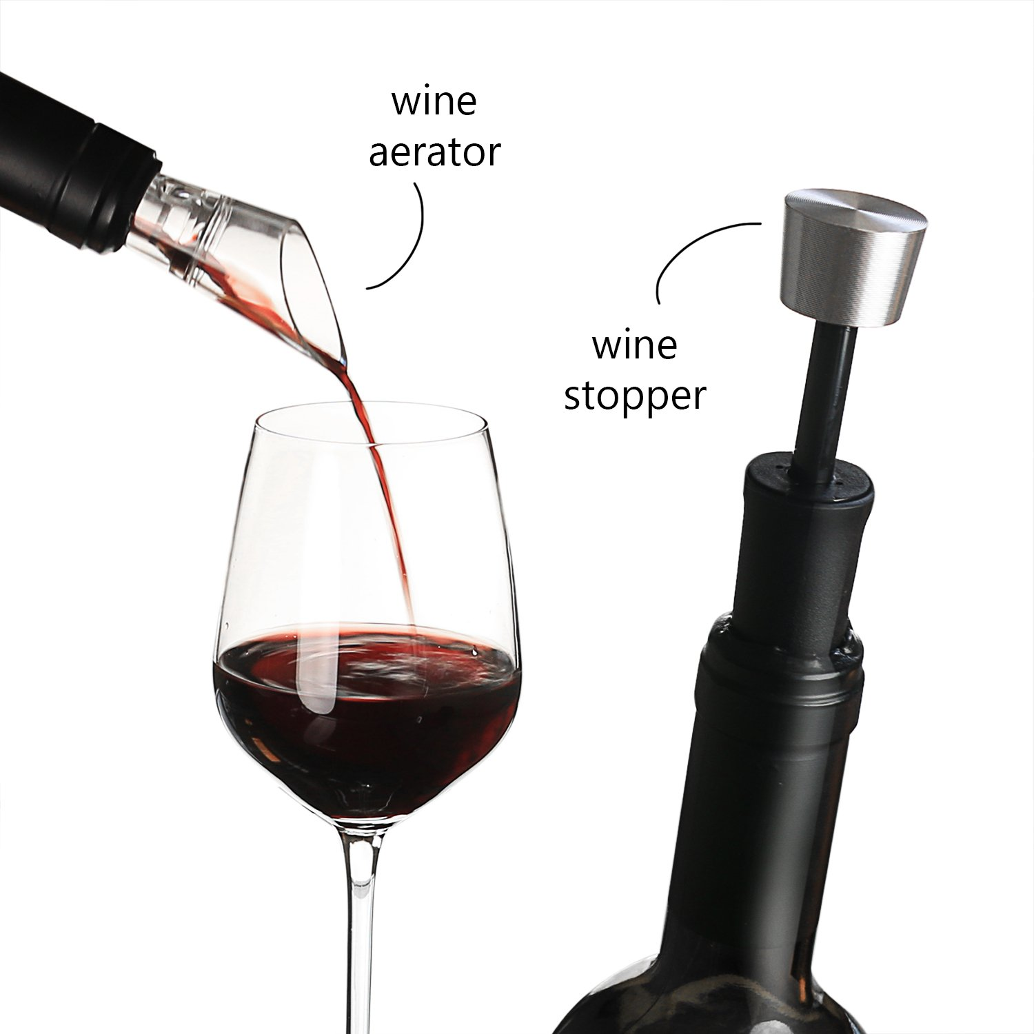 Zalik Wine Glasses Gift Set - Set Of 2 Wine Glasses, Wine Opener, Wine Stopper And Wine Aerator Pourer For Enhanced Flavor - Perfect Gift For Every Occasion - Wine Accessories - Elegant Gift Box by Zalik (Image #3)