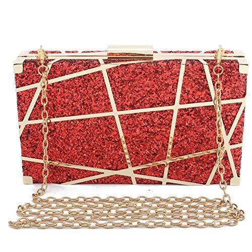 Glitter Hollow quadrata Pochette Metallo Borsa Notte Donna nuziale da laurea Messenger Cjwloy Festa grigio Donna rosso Piccola I8fwqdd