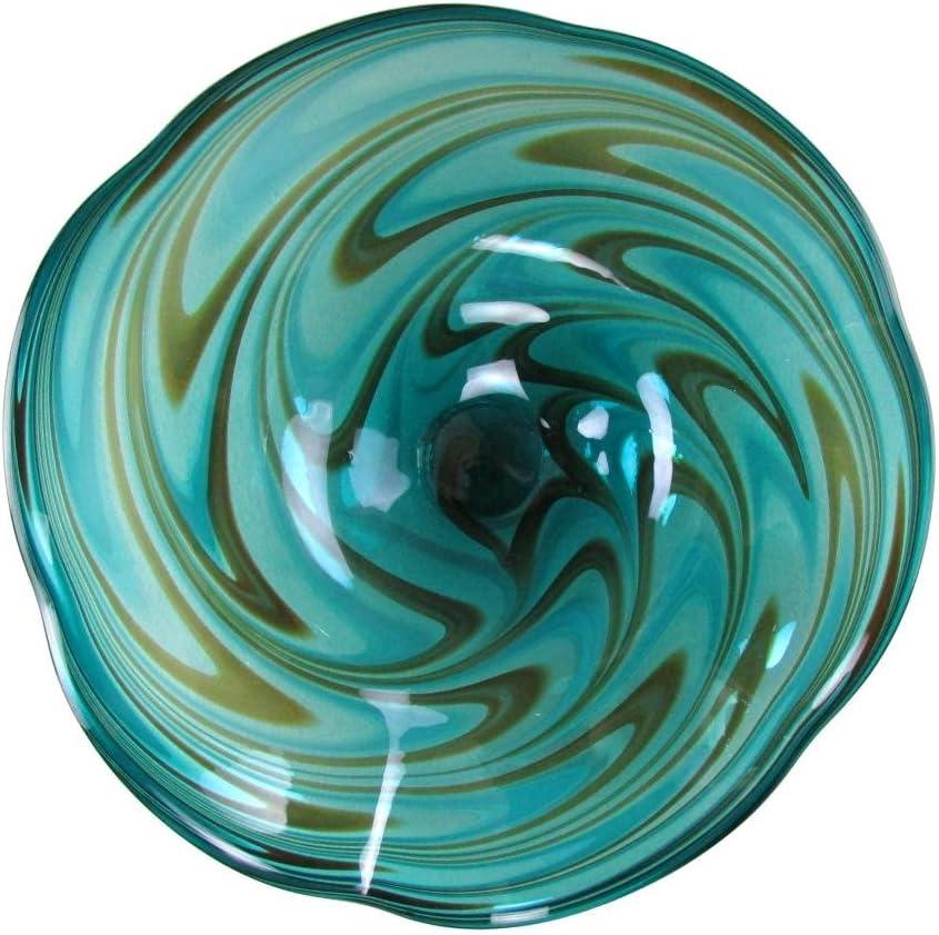 "25"" Hand Blown Art Glass Table Platter Plate Green Brown Wall Hanging Mount"
