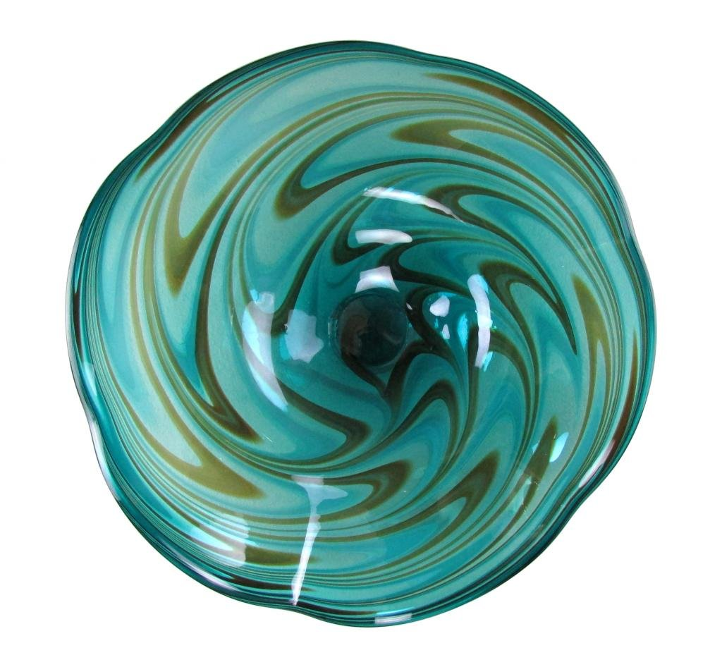 25'' Hand Blown Art Glass Table Platter Plate Green Brown Wall Hanging Mount