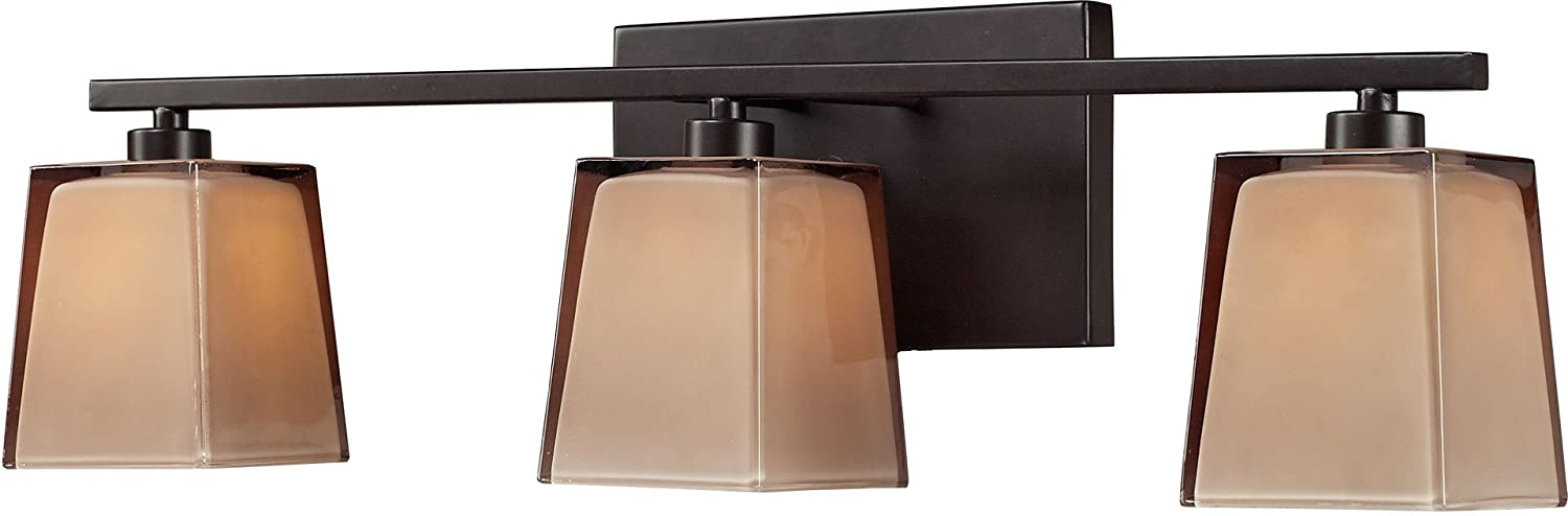 Elk 11438 3 23 by 7-Inch Serenity 3-Light Bathbar with Tan Cubic Glass Shade, Oiled Bronze Finish