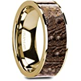 Thorsten Galinthias | Gold Rings for Men | Men's Yellow Gold Ring | Comfort Fit | 14K Flat Yellow Gold with Brown Dinosaur Bone Inlay and Polished Edges - 8mm