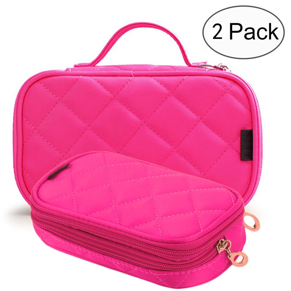 Makeup Bag Cosmetic Organizer Portable 2 layer Mini Makeup Pouch Holder Preminm Nylon makeup Case with Carry Handle for Travel Perfect Gift for Women Girls (Hot Pink)