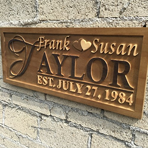 wpa0003 Personalized Last Name Rustic Home Décor Wood Engraving Custom Wedding Gift Couples Anniversary Gift Established Anniversary Gift Wooden Signs