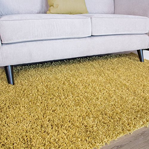 Ontario Yellow Ochre Soft Touch Easy Clean Living Room Shag Shaggy Area Rug 5'11