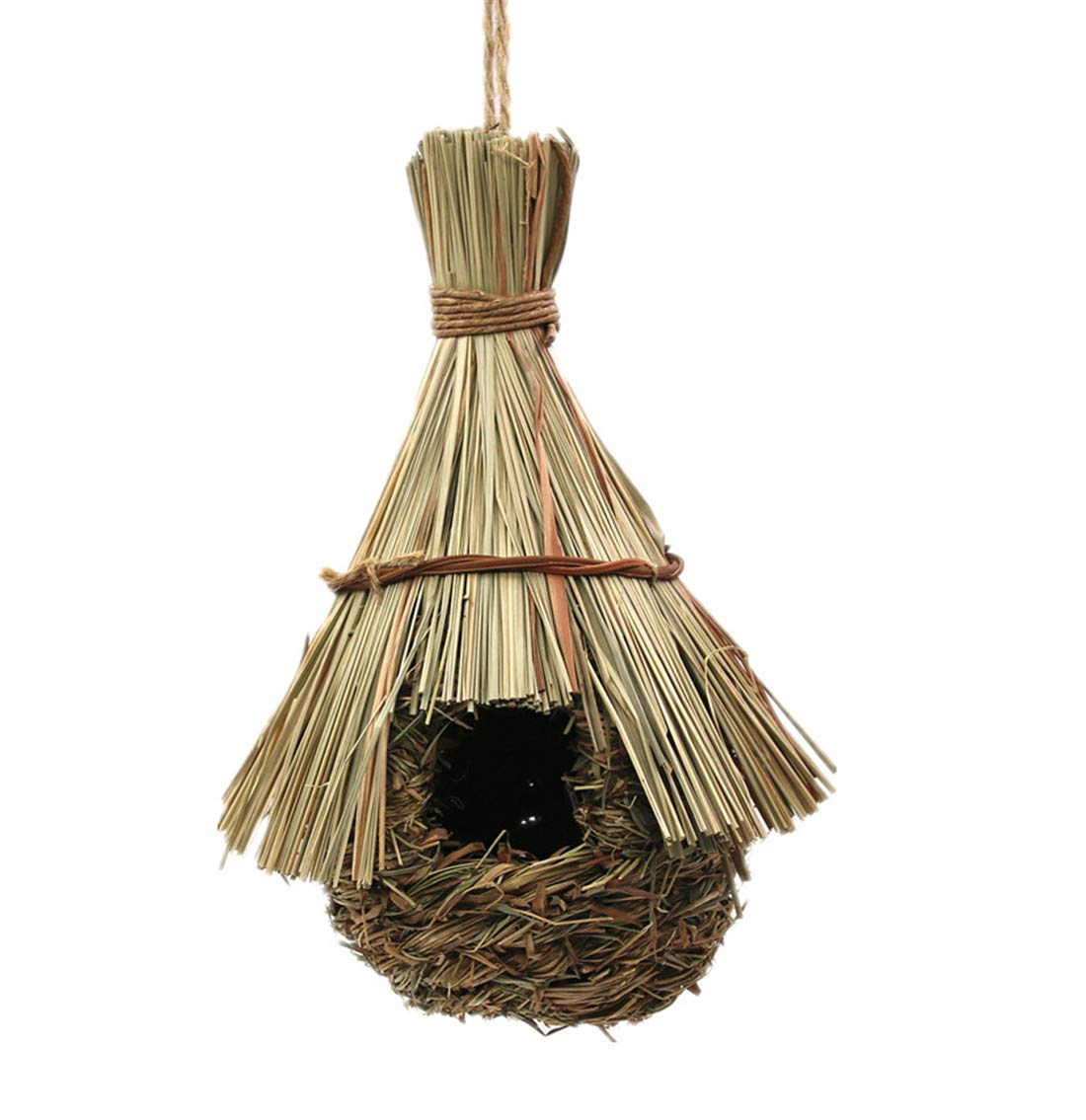Zzooi Hanging Birdhouses Solid Wood Artificial Bird House Bird Nest Yellow