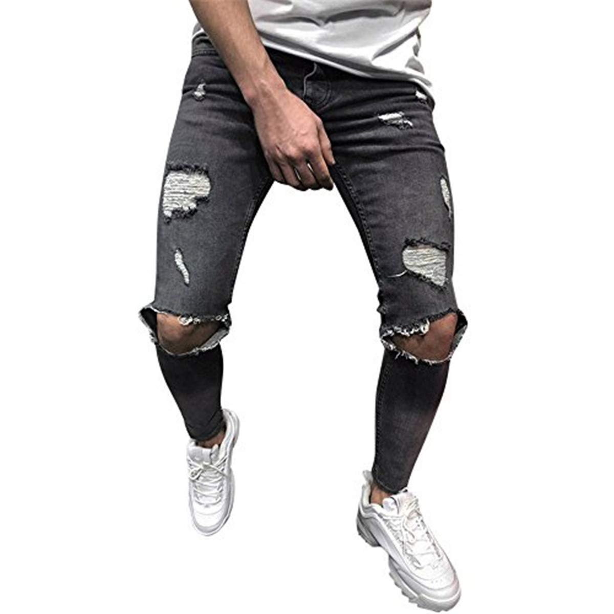 Amacok Mens Jeans Pants Fashion Skinny Stretch Denim Pants Distressed Ripped Freyed Slim Fit Jeans Trousers