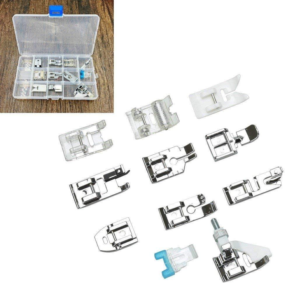 Juego de 11 piezas de accesorios domésticos para máquina de coser con caja de almacenamiento, prensatelas de repuesto para máquina de coser Singer Brother Janome Toyota Elna AEG