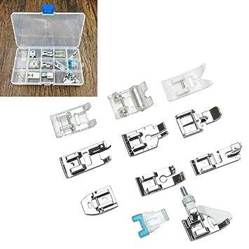 Juego de 11 piezas de accesorios domésticos para máquina de coser con caja de almacenamiento, prensatelas de repuesto para máquina de coser Singer Brother ...