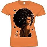 Sixtion Urban Shaolin Women's Black women Afro design &ampbutterflies Fitted T Shirt,