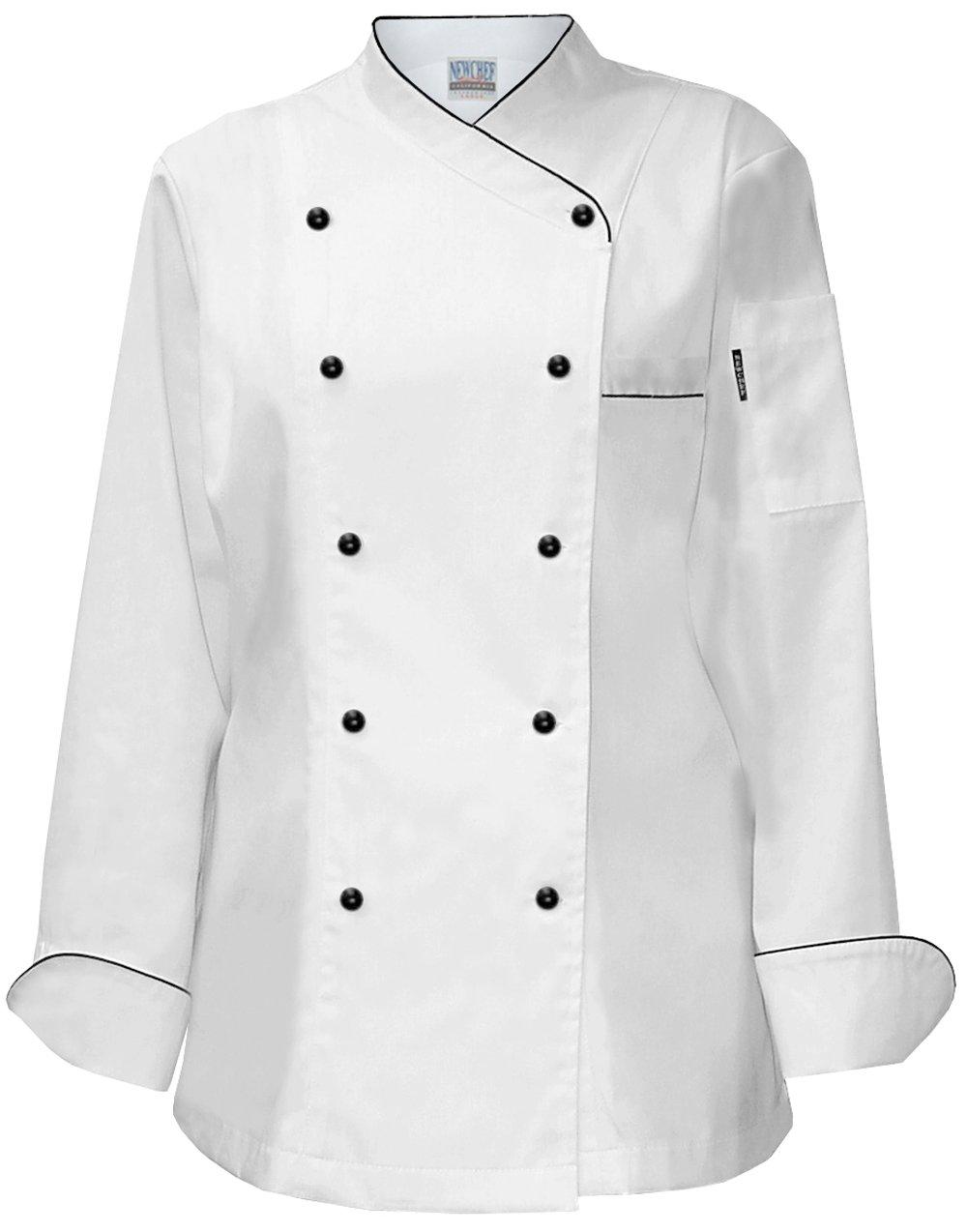 Newchef Fashion Lady Frenchy White Chef Coat with Black Trim S White