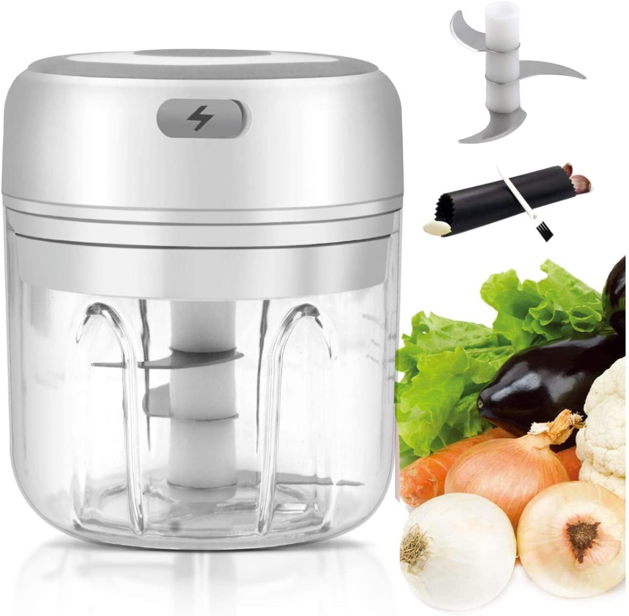 Mini Garlic Chopper, mincer chopper, Electric Food Dicers, Food Slicer Crusher, Wireless, Rechargeable & Portable for Garlic/Chili/Vegetables/Onions/Pepper/Ginger/meat