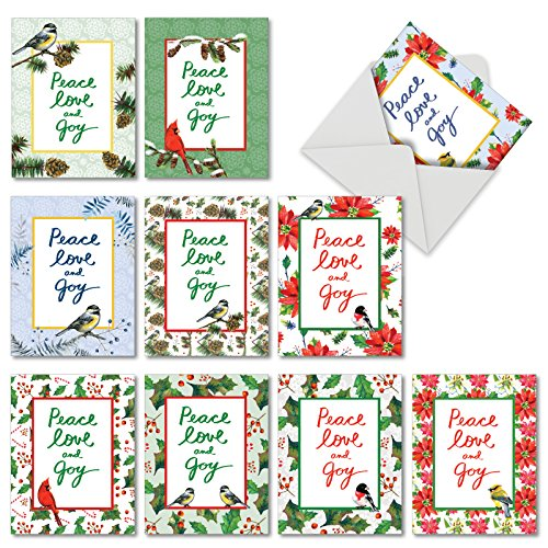 - Christmas Words & Birds: 10 Assorted Blank Christmas Note Cards Featuring Beautiful Birds Paired with Holiday Sentiments, w/White Envelopes. M6735XSBsl