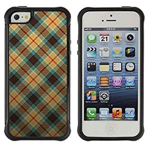 Suave TPU GEL Carcasa Funda Silicona Blando Estuche Caso de protección (para) Apple Iphone 5 / 5S / CECELL Phone case / / Blue and Orange Plaid Pattern /