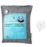Image of Jerrybox Charcoal Bag Natural Bamboo Charcoal Air Purifying Bag, Chemical Free, Fragrance Free, Reusable for Your Wardrobe, Gym Bag, Shoes, Bathroom and Car (200g, with Suction Cup)