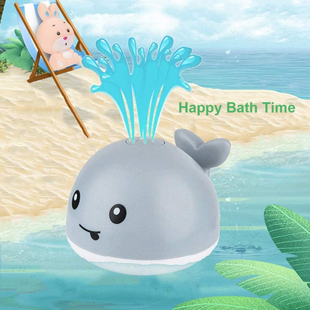Toddler Toys with Flashing Colored Lights Small Whale Toys That Can Spray Water Summerfun Baby Bath Toys Bathtub Toys with Automatic Sprinkling