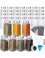 Hatoku 35pcs Glass Spice Jars with 400 Spice Labels, 4oz Square Spice Bottles with Shaker Lids and Airtight Metal Caps, Chalk Marker and Funnel Included