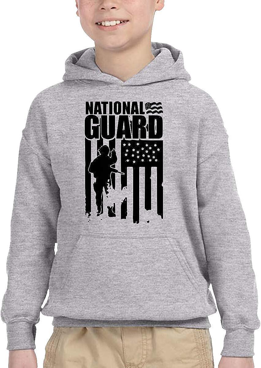 National Guard Patriotic Army American Flag Children Boys Girls Long Sleeve Sweatshirt Pullover Hoodie 2-6T