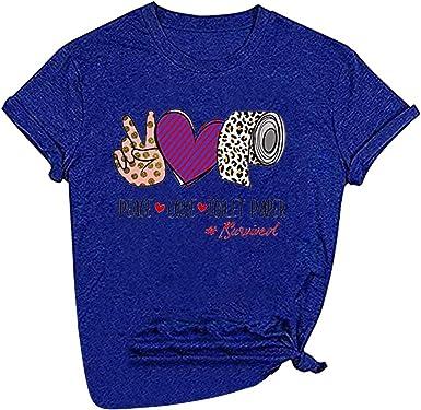Camiseta Mujer, Verano Moda Amantes Impresión Manga Corta ...