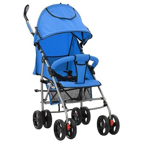 vidaXL Cochecito Sillita Paseo de Bebé 2 en 1 Azul Acero ...