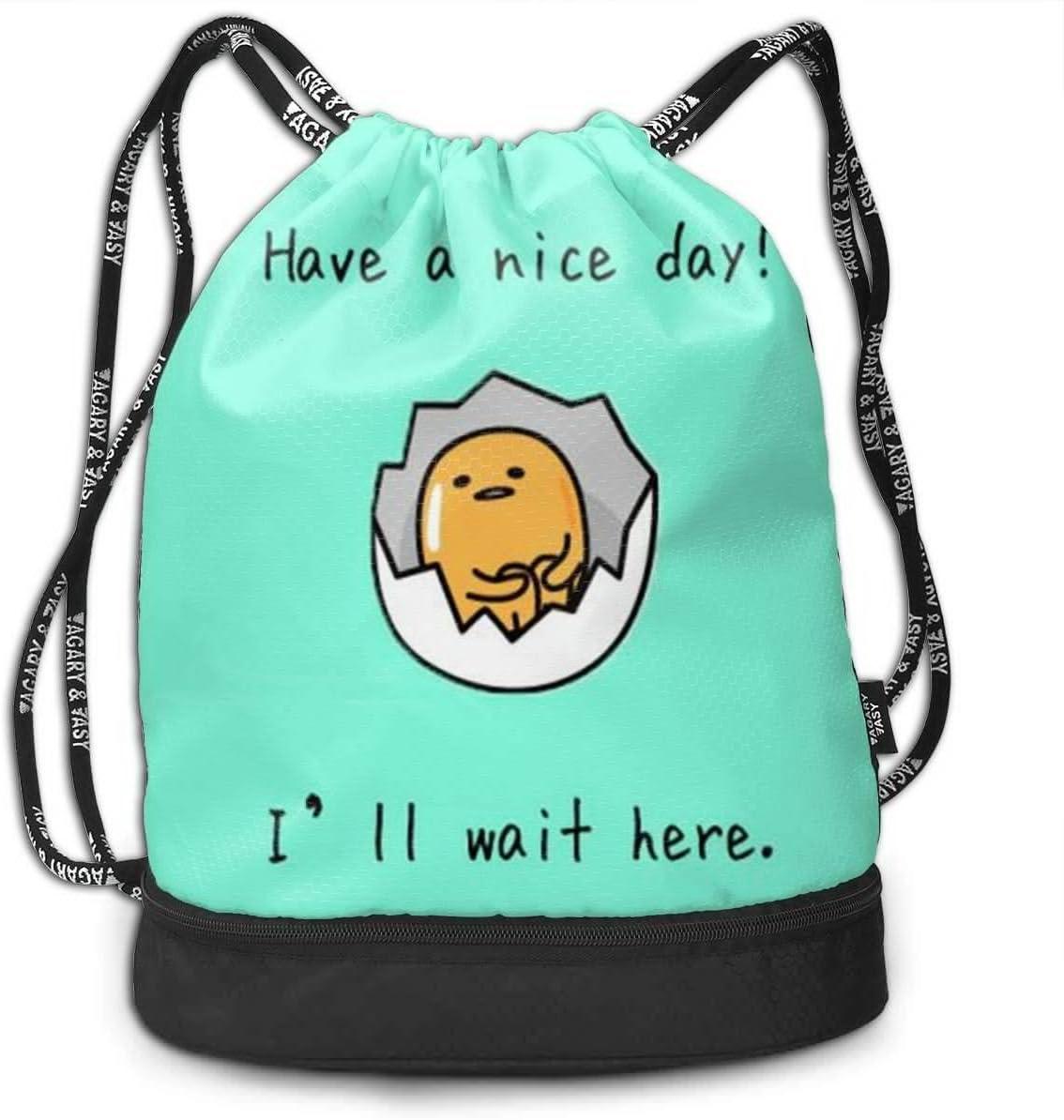 HUOPR5Q Lazy Egg Drawstring Backpack Sport Gym Sack Shoulder Bulk Bag Dance Bag for School Travel