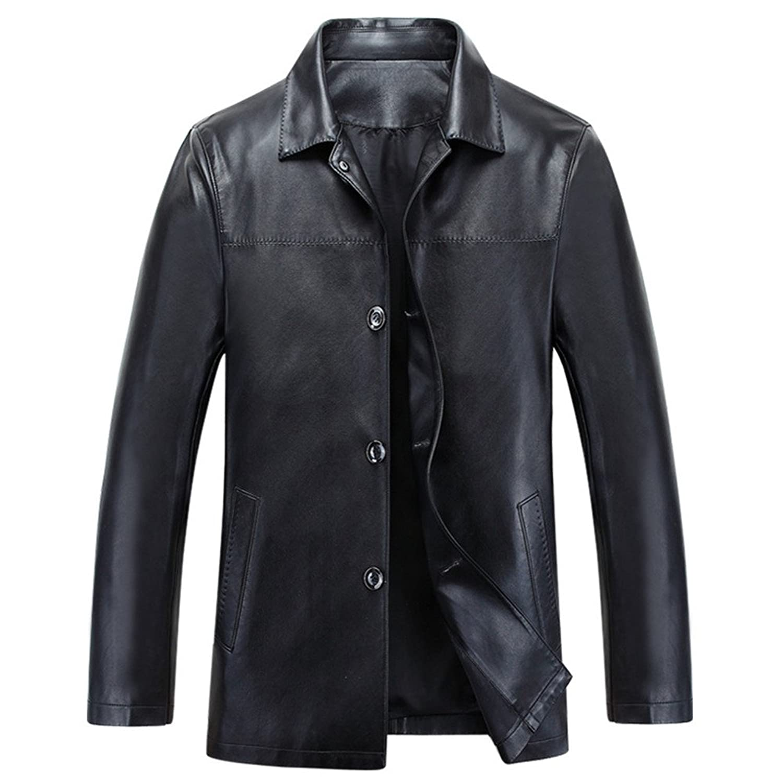 LJYH Men's lapel Buttons Genuine Leather jacket
