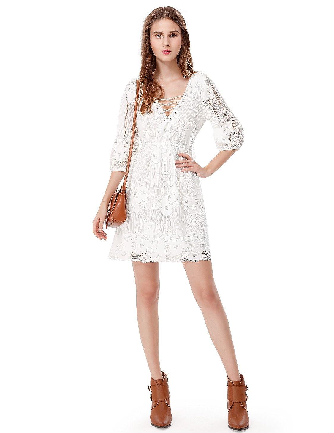 f617508047e6 Women's V-Neck Boho Lace Little White Dress 05613 at Amazon Women's Clothing  store: