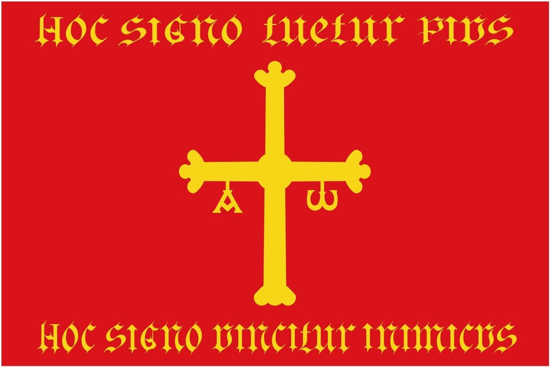 magFlags Bandera Large Heráldica atribuida al Reino de Asturias con los Elementos del Escudo del Reginiento de Nobles Asturianos Finales del s | Bandera Paisaje | 1.35m² | 90x150cm