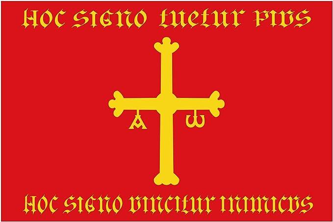 magFlags Bandera Large Heráldica atribuida al Reino de Asturias con los Elementos del Escudo del Reginiento de Nobles Asturianos Finales del s | Bandera Paisaje | 1.35m² | 90x150cm: Amazon.es: Jardín