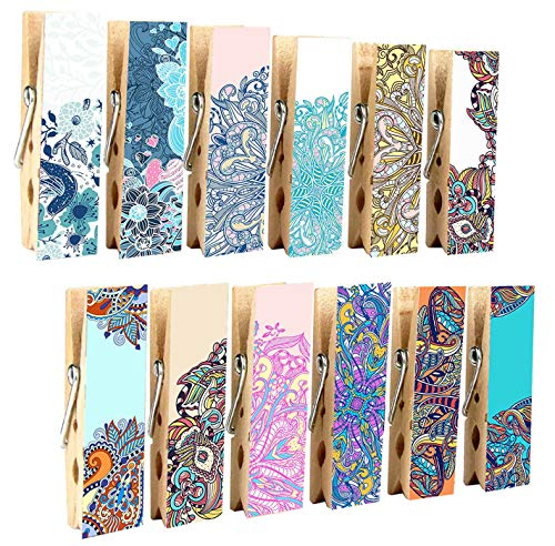 - 12pcs Refrigerator Magnet Clips by Cosylove-Decorative Magnetic Clips Made of Wood with Beautiful Patterns-Super Fridge Magnets for House Office Use - Display Photos,Memos, Lists, Calendars (Bohemia)
