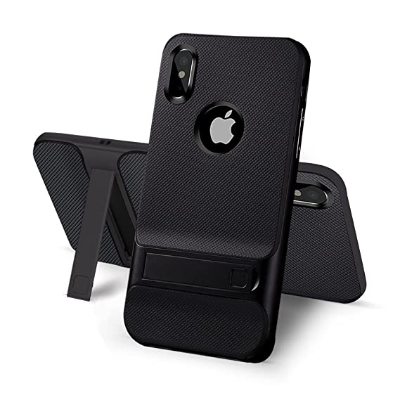 newest 6bf7d 9712e iPhone X Case With Stand Kickstand - USAcases 2017 Ultra Thin Slim Fit  Built-in Holder Kickstand Premium Carbon Fiber Dual Layer Hybrid Shockproof  ...