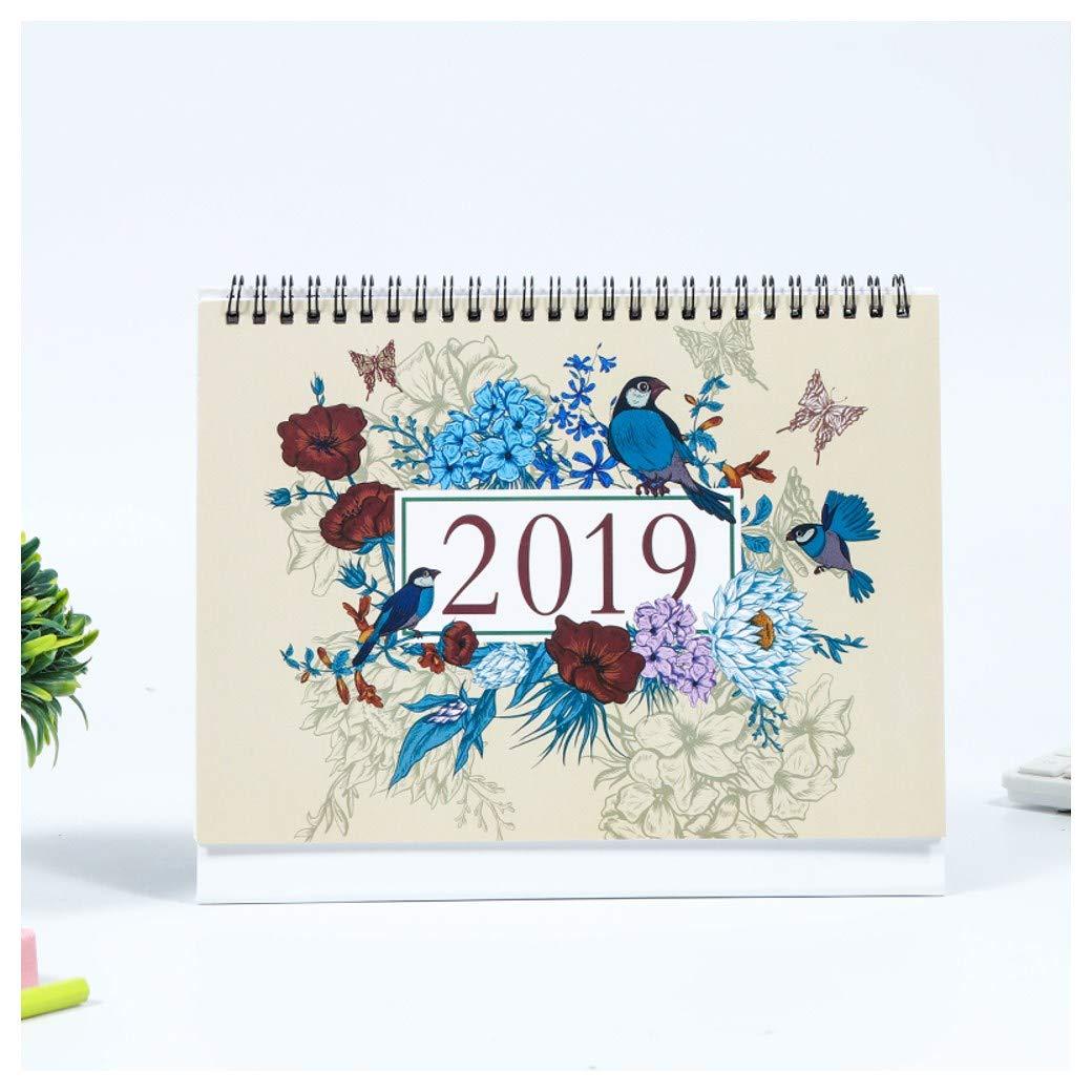 2019 Bureau Pad Calendrier, Janvier - DéCembre, Mensuel, Agenda Agenda AnnéE Universitaire Planificateur Pour L'éCole, De Bureau, De Maison, De Deux Fils, 9,4 X 7,6 Inch (Flower and Birds) M-SUYA