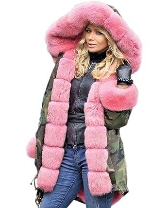 47f3723ffae74 Aox Women Hood Coat Faux Fur Thicken Lined Overcoat Winter Camo Plus Size  Jacket Snow Parka