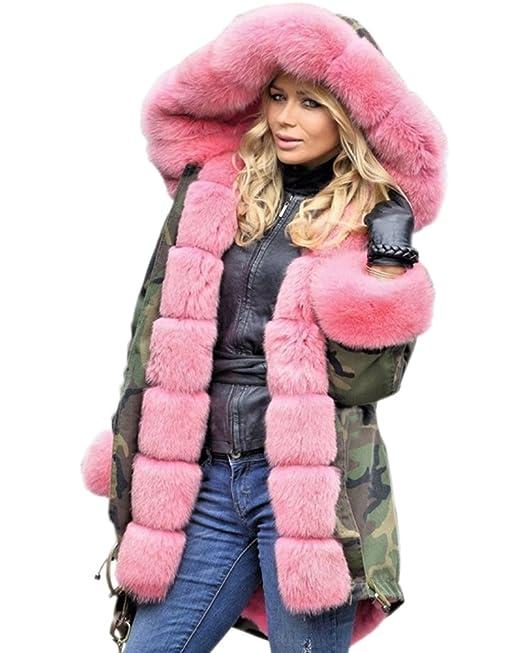 Aofur Donna Cappotto invernale Giacca lunga moda camuffare Militare  Soprabito Parka in pelliccia sintetica Taglia Grossa S-XXXL  Amazon.it   Abbigliamento dbc600589fe2