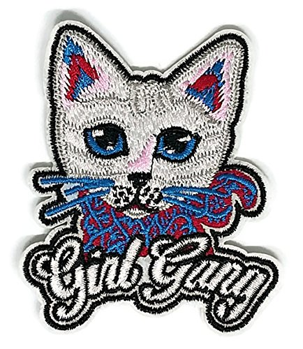 - 2.7 inches x 3.2 inches.Cute Cat Blue Eye Girl Gang Cartoon Patch Sew Iron on Embroidered Applique Craft Handmade Baby Kid Girl Women Cloths DIY Costume Accessories