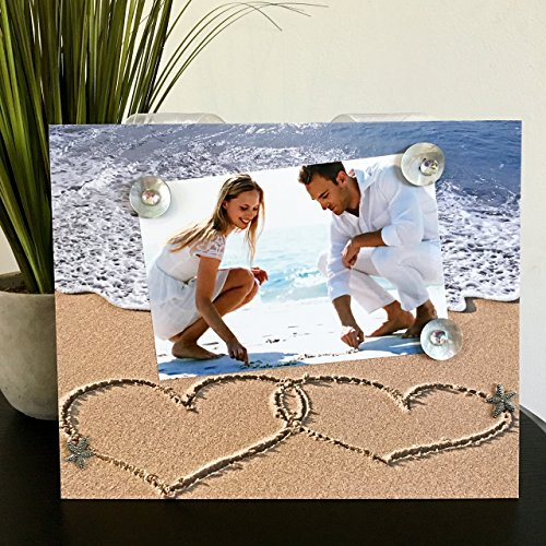 Two Hearts in the Sand - Tropical Beach Wedding Family Vacation Romance Engagement Handmade Gift Present Home Decor Magnetic Picture Frame Size 9 x 11 Holds 5 x 7 Photo