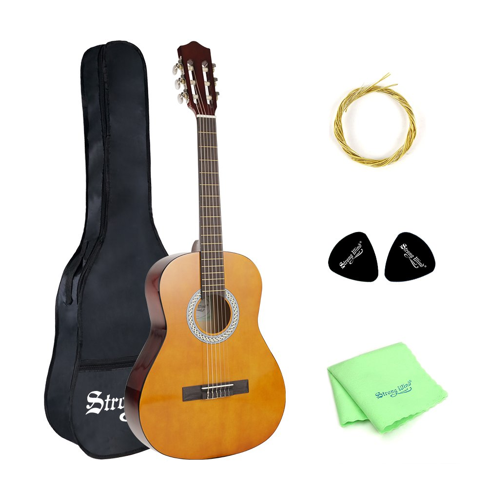 Strong Wind Classical Guitar SWGD36 3/4 Size 36 Inch 6 Nylong Strings Kid Guitar for Beginners Lemon Color