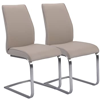 Giantex 2 Pcs Dining Chairs High Back Gray PU Leather Furniture Modern Seat  New