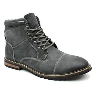New Men's Cap Toe Modern Dress Causal Derby Style Lace Up Boots Azar (10 U.S